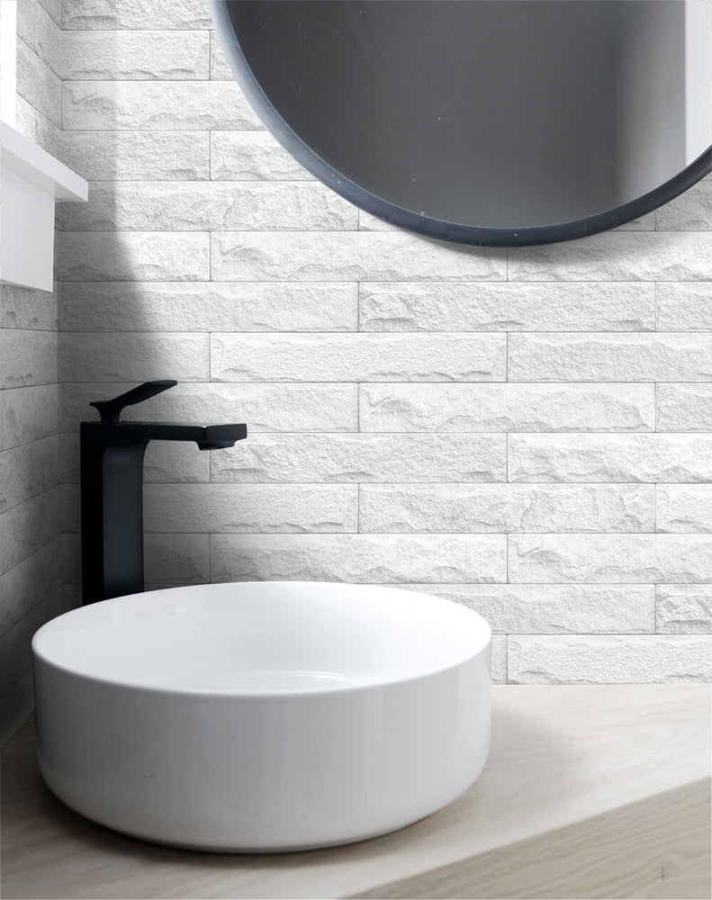NW34400 limestone brick peel and stick removable wallpaper bathroom from NextWall