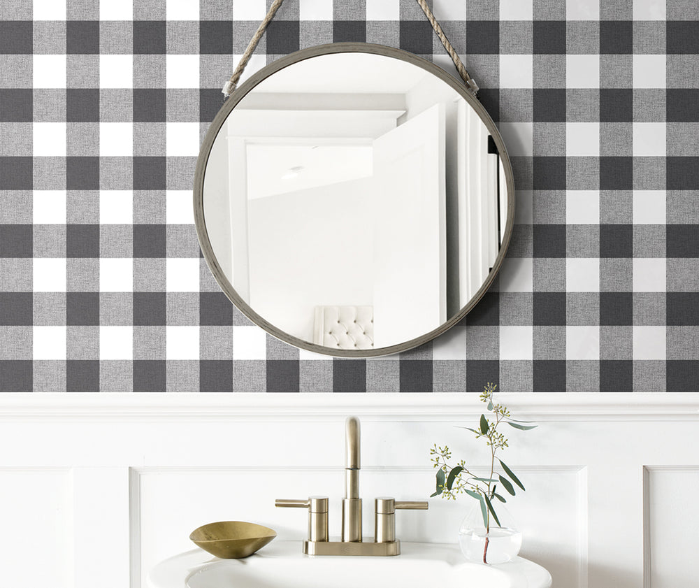 NW34500 picnic plaid peel and stick removable wallpaper bathroom by NextWall