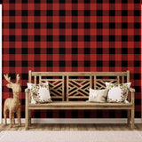 NW34501 buffalo plaid Christmas peel and stick removable wallpaper entryway from NextWall
