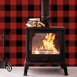 NW34501 buffalo plaid Christmas peel and stick removable wallpaper fireplace from NextWall