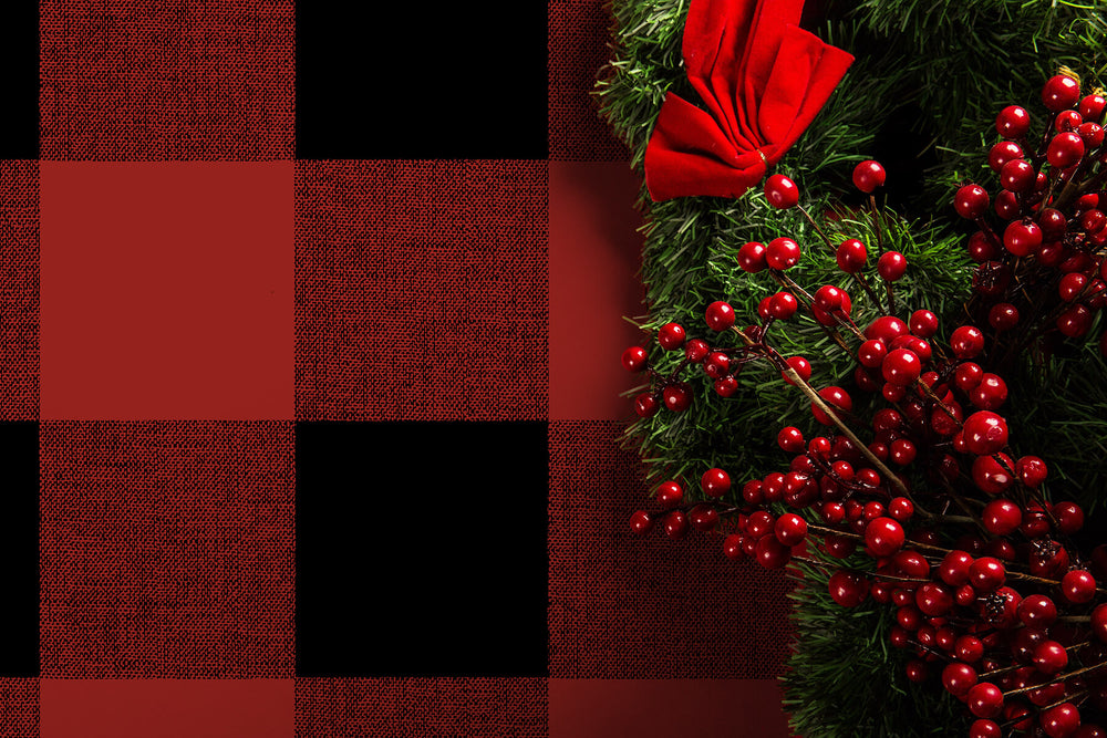 NW34501 buffalo plaid Christmas peel and stick removable wallpaper decor from NextWall