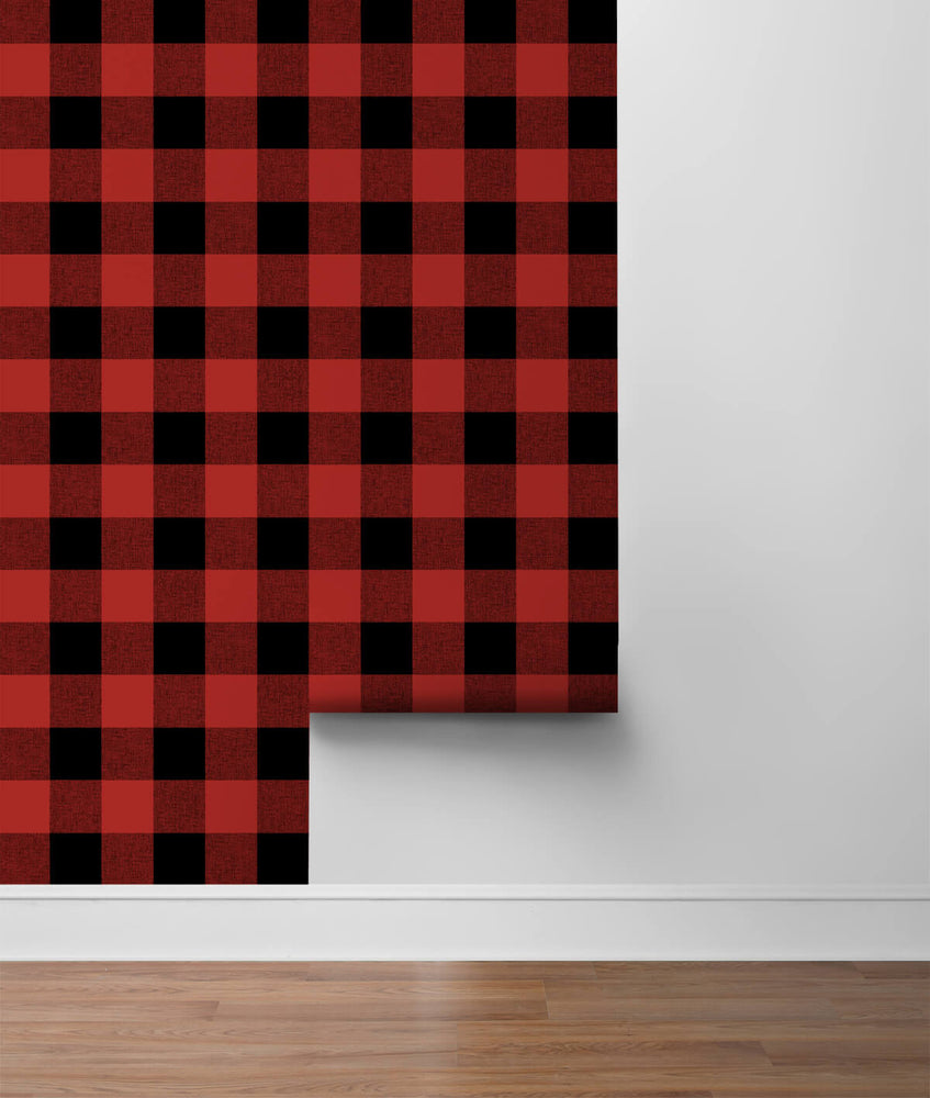 NW34501 buffalo plaid Christmas peel and stick removable wallpaper roll from NextWall