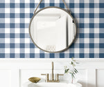 NW34502 picnic plaid peel and stick removable wallpaper bathroom by NextWall