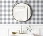 NW34508 picnic plaid peel and stick removable wallpaper bathroom by NextWall