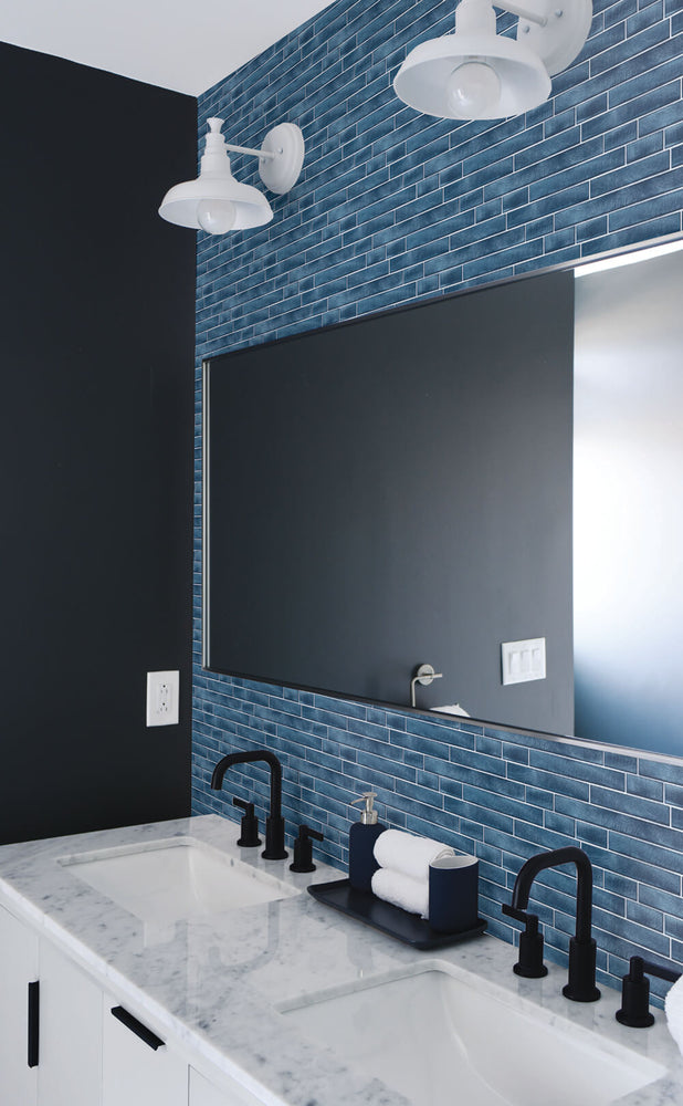 NW34602 brushed metal tile peel and stick removable wallpaper bathroom by NextWall