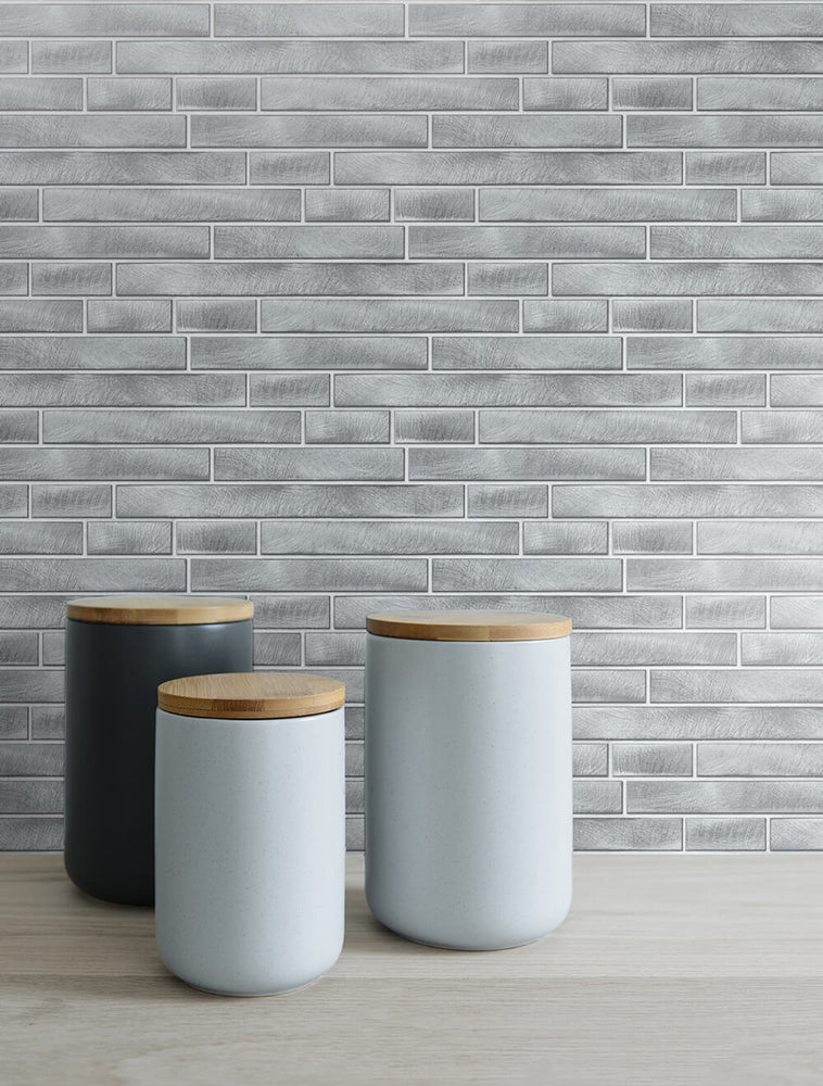 NW34608 brushed metal tile peel and stick removable wallpaper decor by NextWall