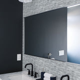 NW34608 brushed metal tile peel and stick removable wallpaper bathroom by NextWall
