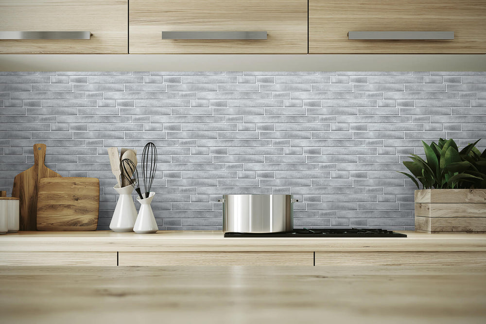 NW34608 brushed metal tile peel and stick removable wallpaper backsplash by NextWall