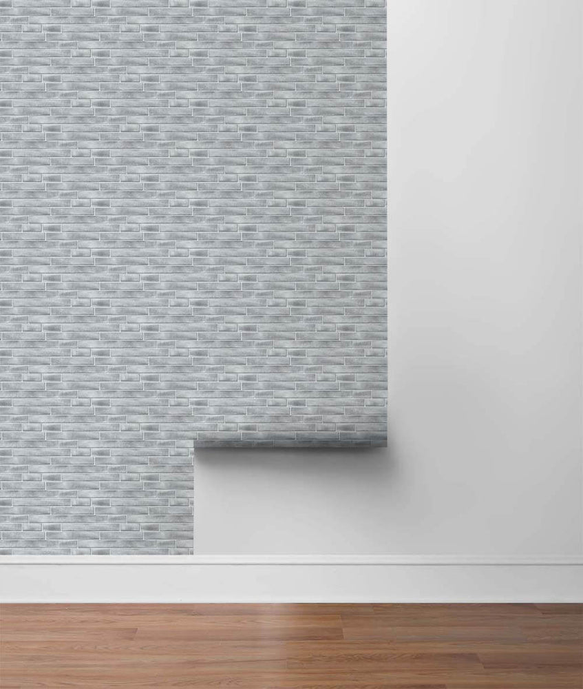 NW34608 brushed metal tile peel and stick removable wallpaper roll by NextWall