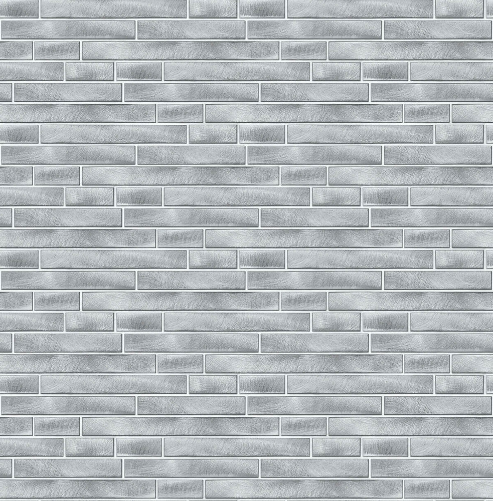 NW34608 brushed metal tile peel and stick removable wallpaper by NextWall