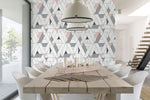 NW34701 kaleidoscope geometric peel and stick removable wallpaper dining room by NextWall