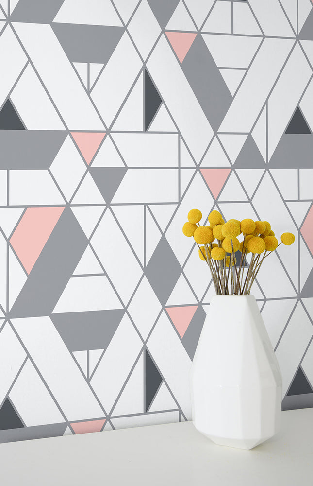 NW34701 kaleidoscope geometric peel and stick removable wallpaper decor by NextWall