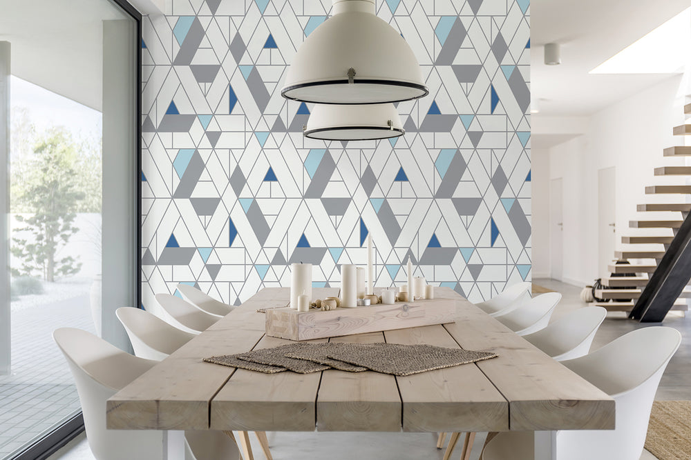 NW34702 kaleidoscope geometric peel and stick removable wallpaper dining room by NextWall