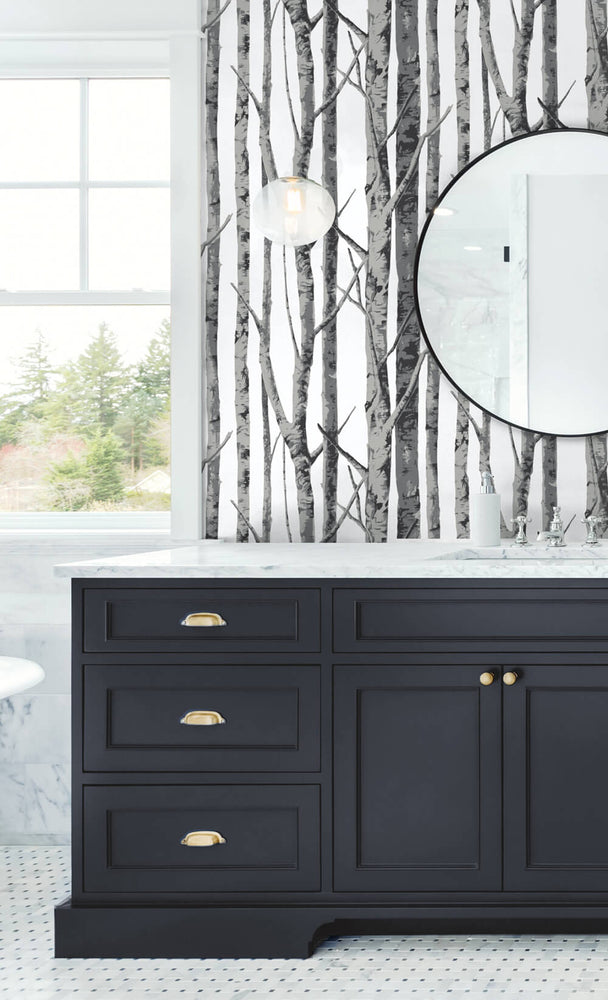 NW34800 birch tree peel and stick removable wallpaper bathroom by NextWall