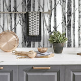 NW34800 birch tree peel and stick removable wallpaper kitchen by NextWall