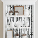 NW34800 birch tree peel and stick removable wallpaper shelf by NextWall