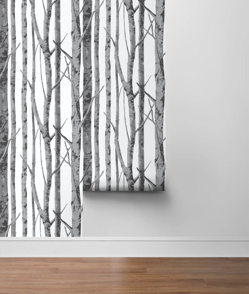 NW34800 birch tree peel and stick removable wallpaper roll by NextWall
