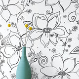 NW34900 black linework floral peel and stick wallpaper vase by NextWall