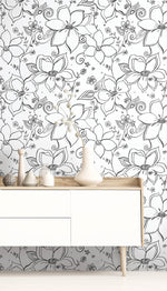 NW34900 black linework floral peel and stick wallpaper decor by NextWall