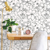 NW34900 black linework floral peel and stick wallpaper desk by NextWall
