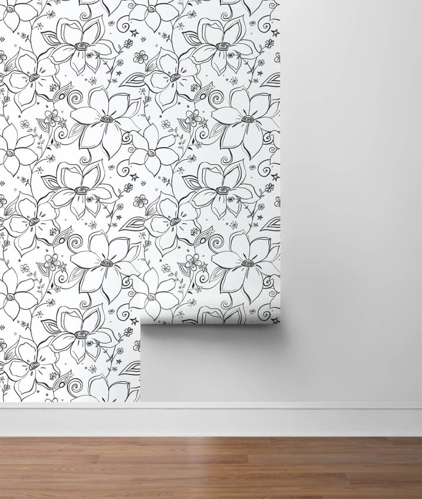 NW34900 black linework floral peel and stick wallpaper roll by NextWall