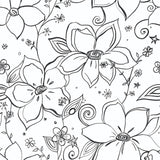 NW34900 black linework floral peel and stick wallpaper by NextWall