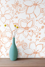 NW34905 orange linework floral peel and stick wallpaper vase by NextWall