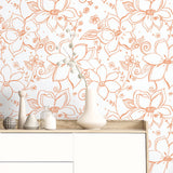 NW34905 orange linework floral peel and stick wallpaper decor by NextWall