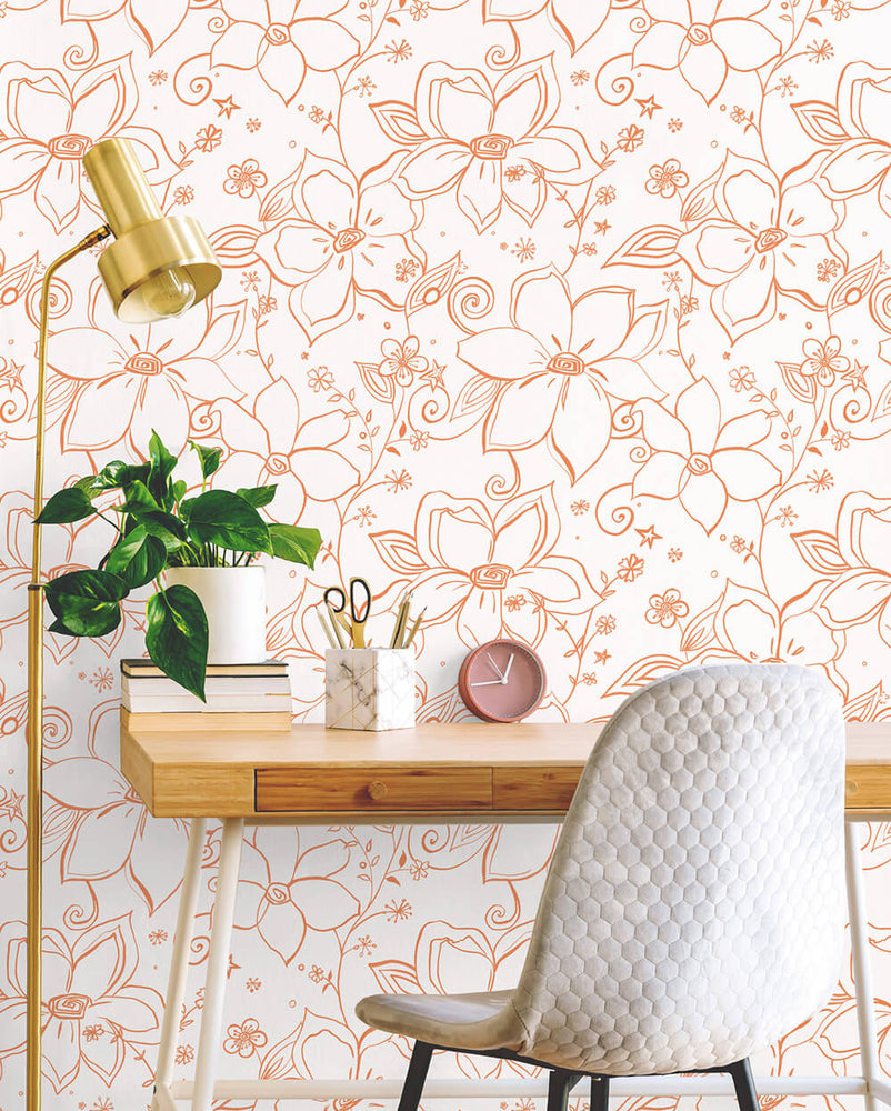 NW34905 orange linework floral peel and stick wallpaper desk by NextWall