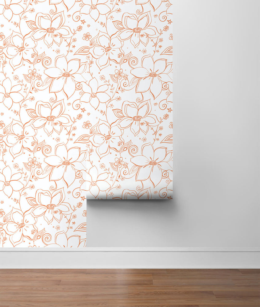 NW34905 orange linework floral peel and stick wallpaper roll by NextWall