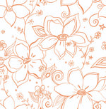 NW34905 orange linework floral peel and stick wallpaper by NextWall