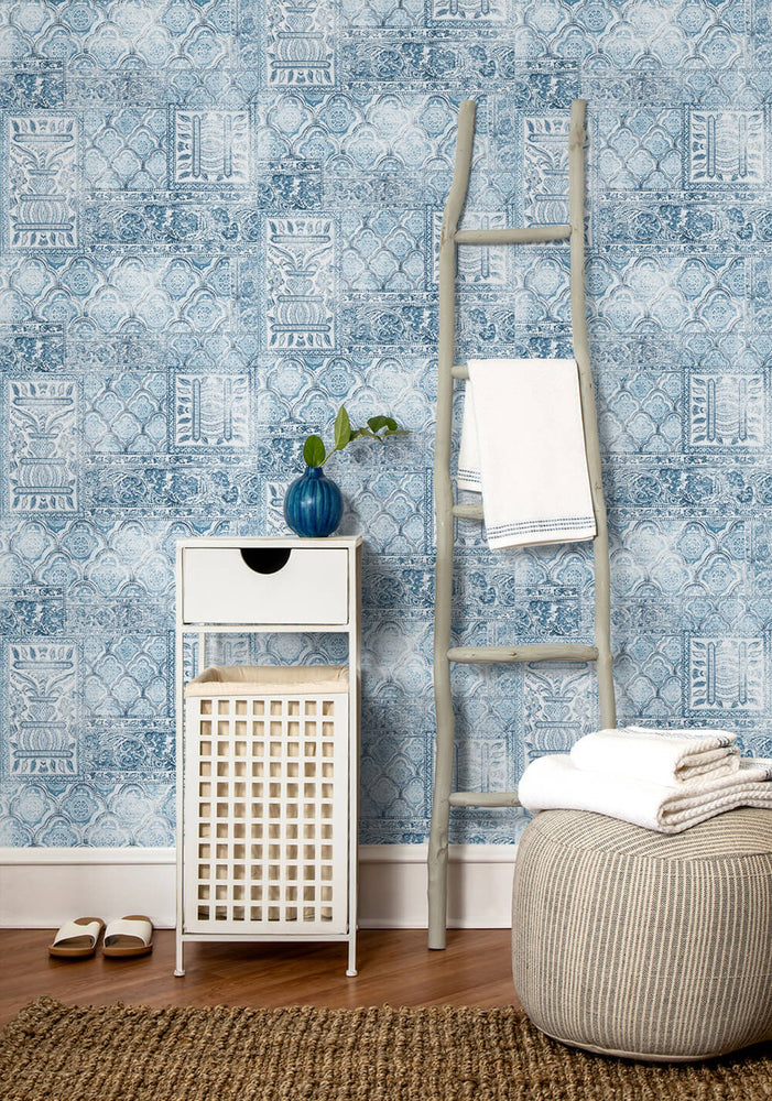 NW35002 patchwork bohemian peel and stick wallpaper decor by NextWall