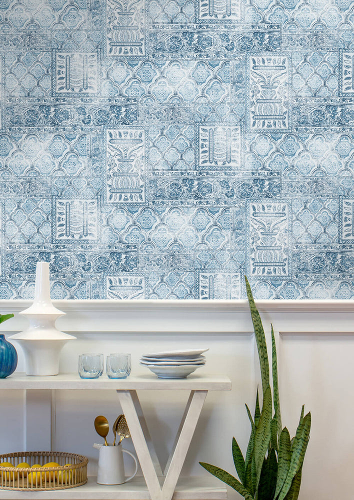 NW35002 patchwork bohemian peel and stick wallpaper entryway by NextWall