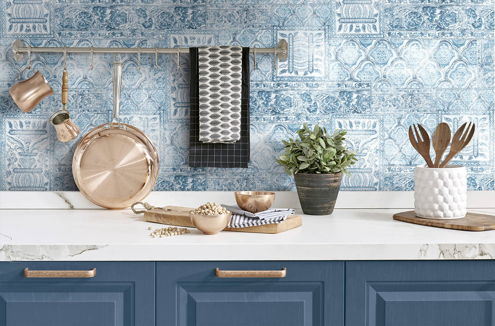 NW35002 patchwork bohemian peel and stick wallpaper backsplash by NextWall