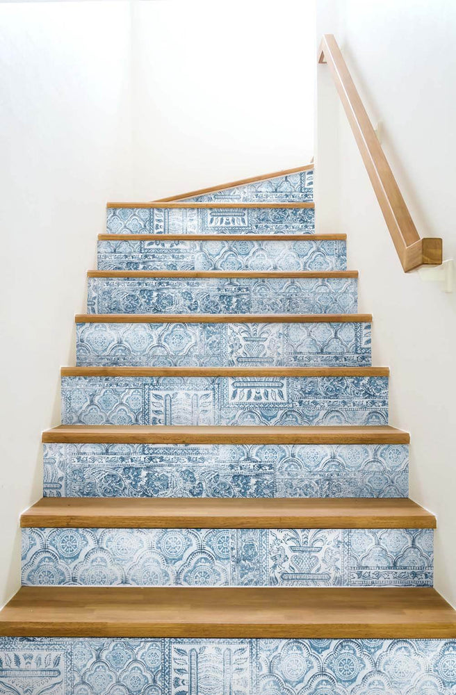 NW35002 patchwork bohemian peel and stick wallpaper stairs by NextWall