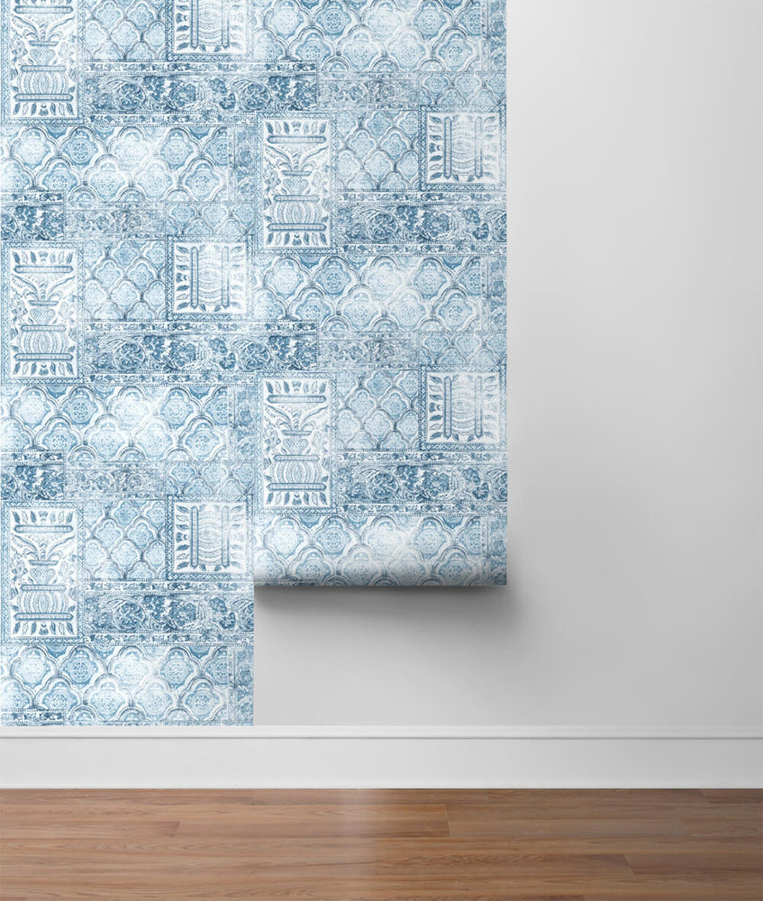 NW35002 patchwork bohemian peel and stick wallpaper roll by NextWall