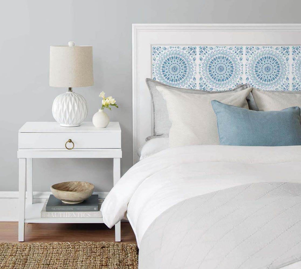 NW35102 blue mandala bohemian peel and stick wallpaper headboard by NextWall