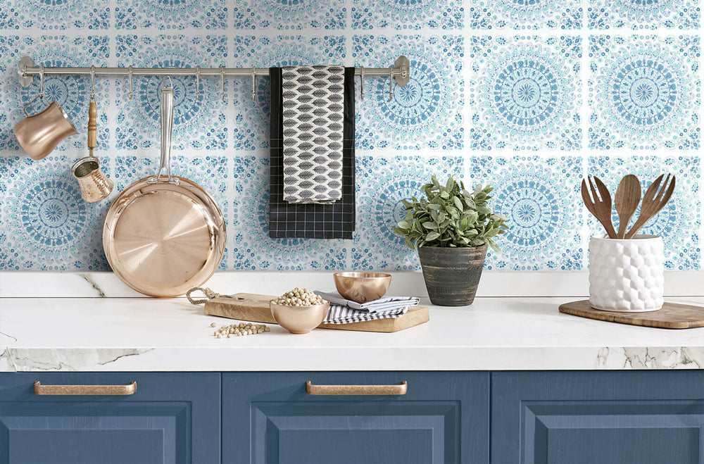 NW35102 blue mandala bohemian peel and stick wallpaper backsplash by NextWall
