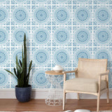 NW35102 blue mandala bohemian peel and stick wallpaper decor by NextWall