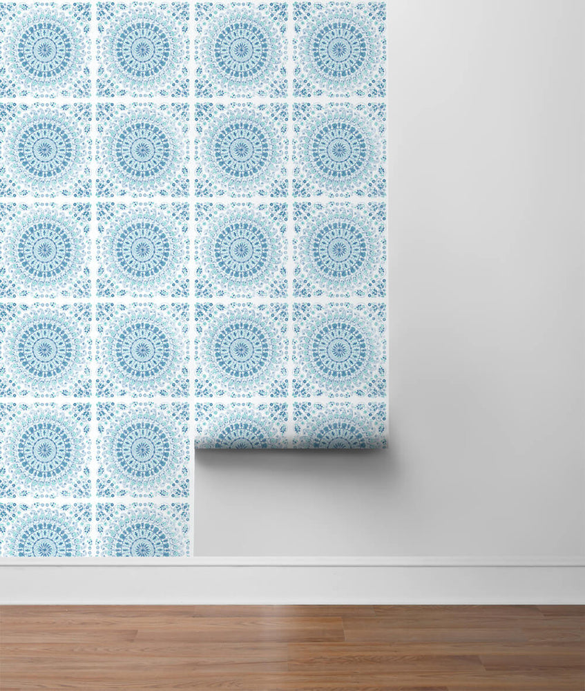 NW35102 blue mandala bohemian peel and stick wallpaper roll by NextWall