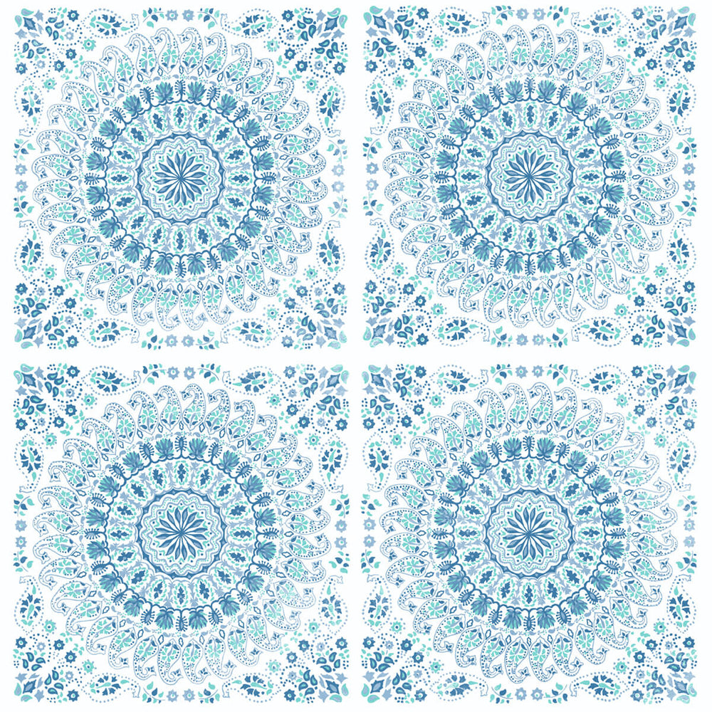 NW35102 blue mandala bohemian peel and stick wallpaper by NextWall