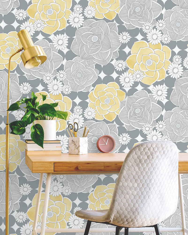 NW35203 retro floral peel and stick removable wallpaper desk by NextWall