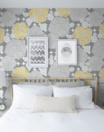 NW35203 retro floral peel and stick removable wallpaper bedroom by NextWall