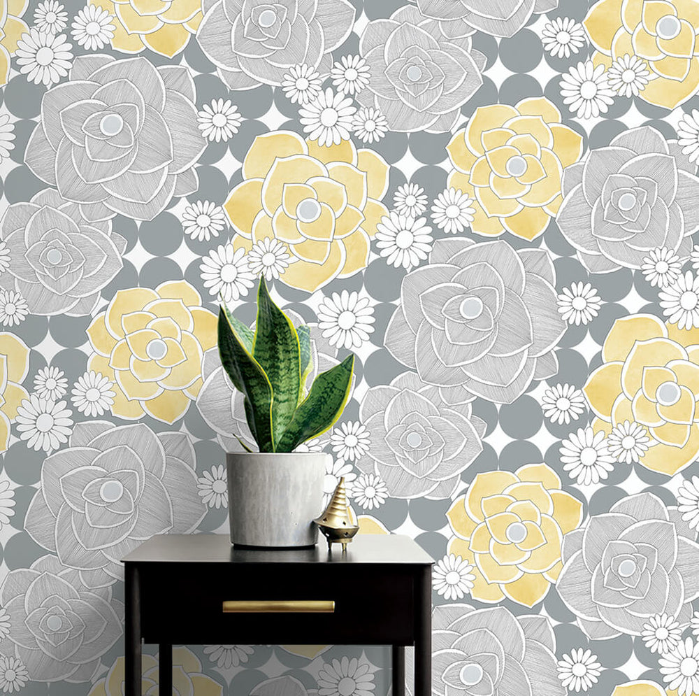 NW35203 retro floral peel and stick removable wallpaper decor by NextWall