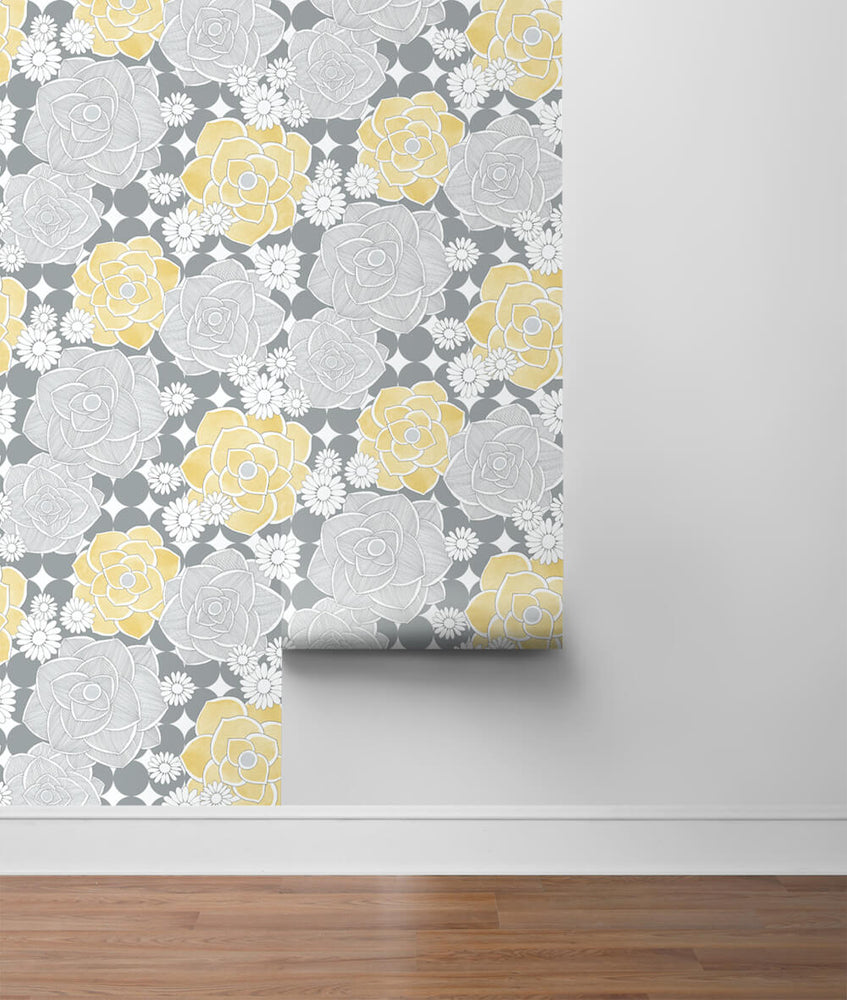 NW35203 retro floral peel and stick removable wallpaper roll by NextWall