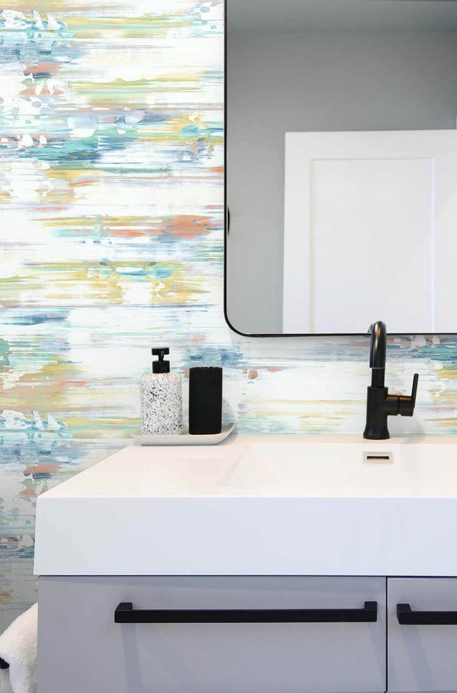 NW35306 brushed stripe abstract peel and stick removable wallpaper bathroom by NextWall