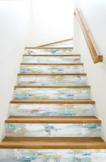 NW35306 brushed stripe abstract peel and stick removable wallpaper stairs by NextWall