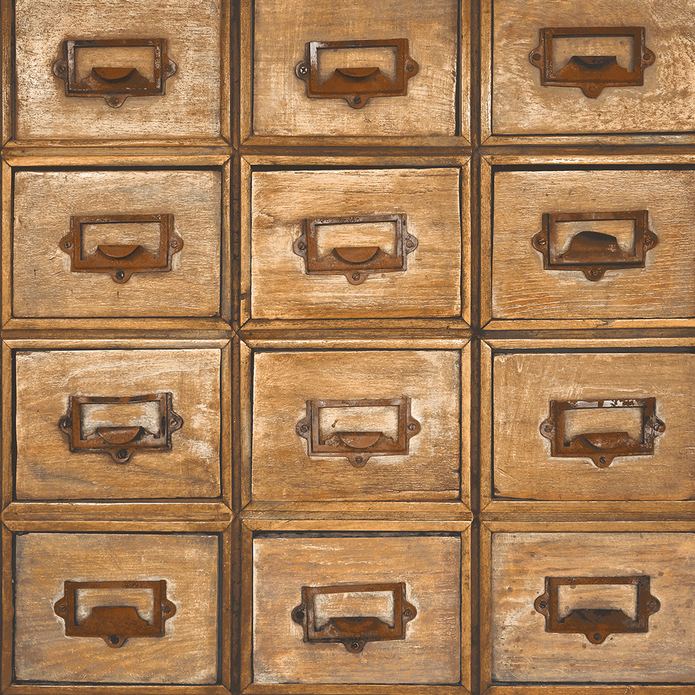 NextWall Library Card Catalog Peel and Stick Removable Wallpaper