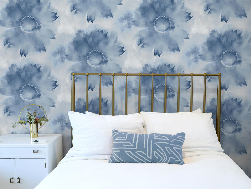 NW35602 watercolor sunflower floral peel and stick removable wallpaper bedroom by NextWall