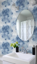 NW35602 blue watercolor sunflower floral peel and stick removable wallpaper bathroom by NextWall